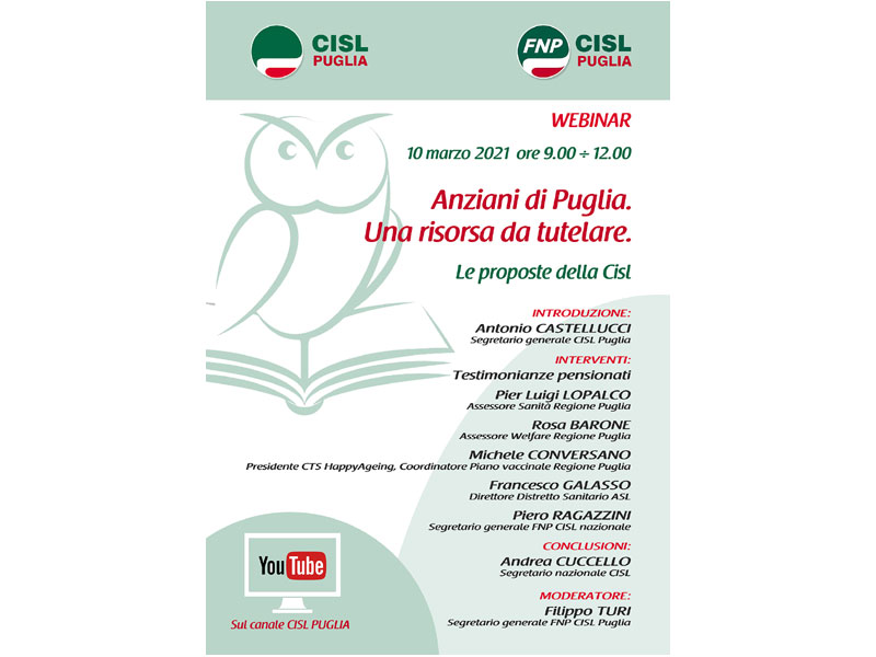 Anziani di Puglia una risorsa da tutelare, webinar di Cisl ...